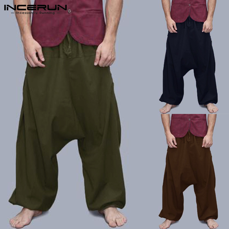 2019 NEW Men Harem Pants Loose Wide Legs Hiphop Harajuku Trousers Baggy Big Crotch Elastic Waist Joggers Casual Pants Hombre