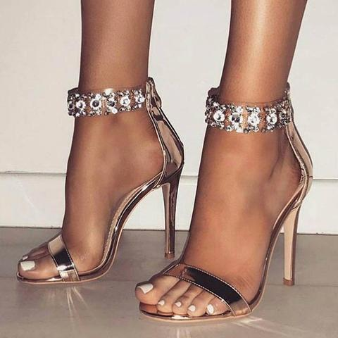 Fashion Super High Heel Stilettos Shoes in Open toe Crystal Embellished Narrow Band Spring Sandals with Ankle Zipper GoldFashion Super High Heel Stilettos Shoes in Open toe Crystal Embellished Narrow Band Spring Sandals with Ankle Zipper Gold