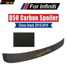 Q50 Auto Racing Car Tail Lip Wing Spoiler Black For Infiniti Q50 Q50S 4Door Carbon Fiber Rear Roof Window Spoiler Wing 2015-2018