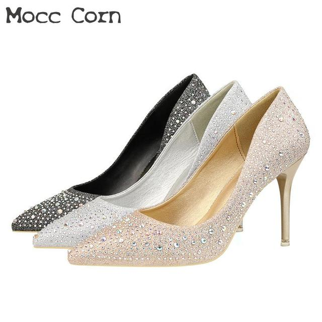 Womens Crystal High Heels Sparkles Sequined Pumps Gold Silver Wedding Shoes  Bride Pointed Toe Thin Heels Pumps Party Shoes Black f56d687a617