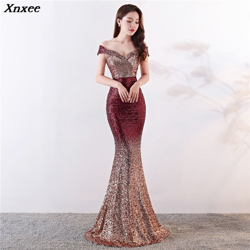 Sexy Halter Long Mermaid Dress Women Retro Sequins Short Sleeve Party Maxi Dresses Hollow Out Slim
