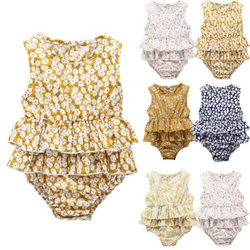 Fshion bebé recién nacido bebé niñas juego volantes tutú mono ropa de bebé