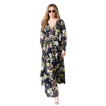 MYTL-Women Long sleeve Cotton,Chiffon Dress Bohemian V Neck Print Big Swing Floral Beach Maxi Gown Female