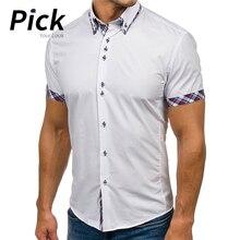 купить 2019 New Arrival Brand Men's Summer Business Shirt Short Sleeves Turn-down Collar Tuxedo Shirt Shirt Men Shirts Size 2XL D30 дешево