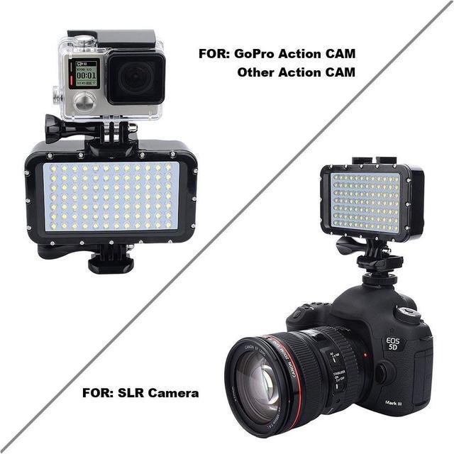 50m à prova dwaterproof água subaquática led highpower flash luz para câmeras gopro canon slr fill lâmpada mergulho luzes de vídeo montagem r29