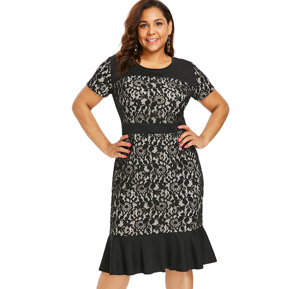 cad1e43a487 Wipalo Plus Size Lace Panel Mermaid Dress Women Short Sleeve O-Neck Sheath  Bodycon Dress Casual Black Lace Office Lady Dresses