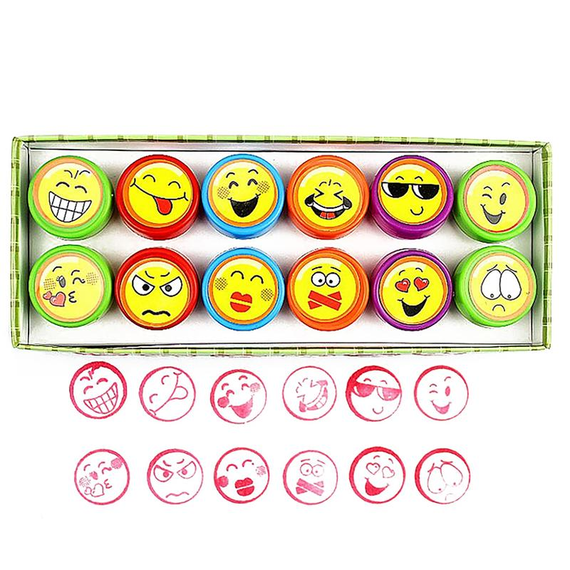 12pcs/set Mini Seal Children's Toy Cartoon Smell Emoji Expression Face Pattern Seal Set For Kids Painting Games DIY Toy