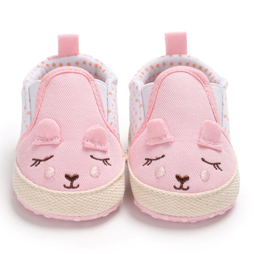 Cute Carton Newborn Baby Boy Girl Shoes Infant Sneakers Toddler PreWalker Trainers 0-18M Soft Sole Anti Slipper Pink Grey
