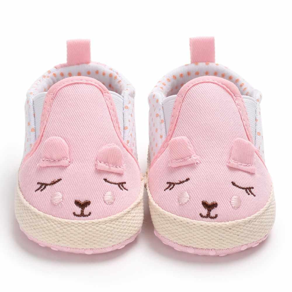 Lindo cartón recién nacido bebé niño Niña Zapatos Niño zapatillas Niño PreWalker zapatillas 0-18 M suela suave antideslizador rosa gris