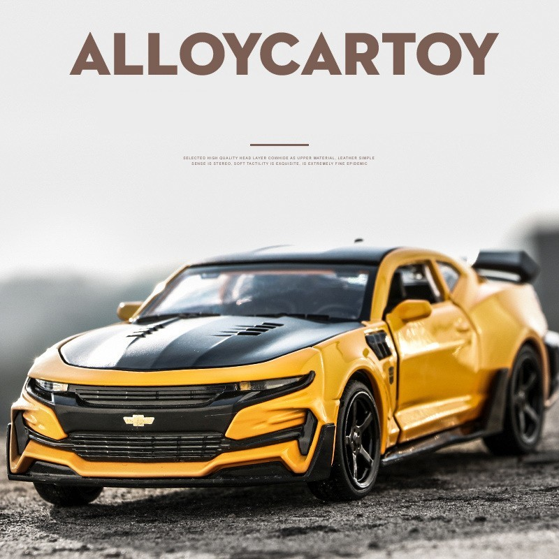 Chevrolet Camaro 1:32 Alloy Diecast Car Model Sound Light Pull Back For Children Birthday Gifts Collection Hot Weels