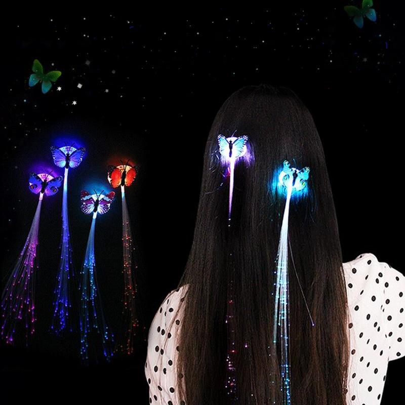 Livraison Rapide 1 Pc Cheveux Accessoires Brillant Papillon Tresses Led Fiber Coloré Tresses Enfants épingles à Cheveux Coiffure Filles Montrer Accessoires