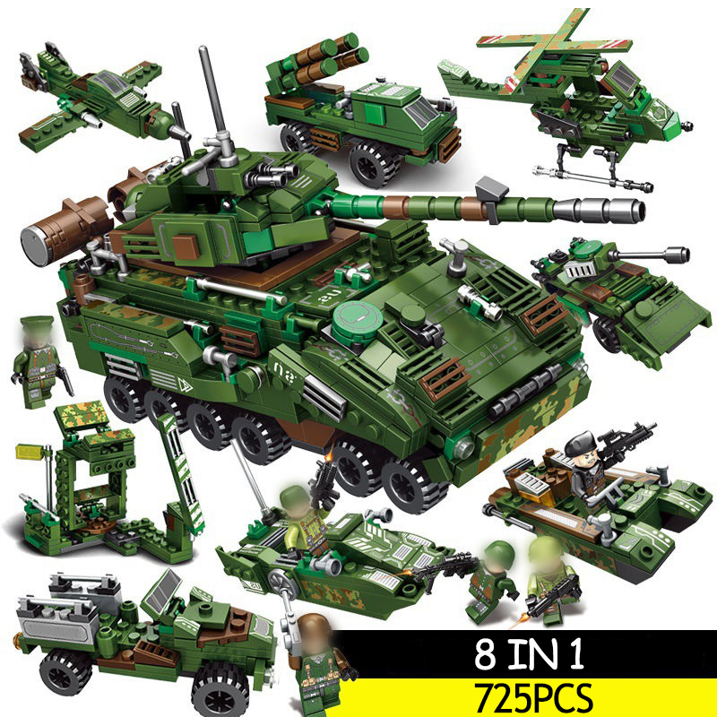 725 pcs Tank Building Blocks Sets Soldier Weapon Compatible LegoINGs Military WW2 Army Soldiers DIY Bricks Toys for Boys gift