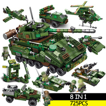 725 pcs Tank Building Blocks Sets Soldier Weapon Compatible LegoINGs Military WW2 Army Soldiers DIY Bricks Toys for Boys gift yamala imperial redcoat army soldier gun collectible building blocks children gift toys compatible with legoingly army soldiers