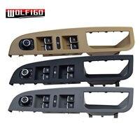 WOLFIGO Black/Beige/Grey 3PCS For VW For J etta GOLF MK5 Master Window Switch Buttons+Bezel Panel Trim Kit 1K4868049C,5ND959565A