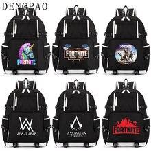 dd93d4ad87 DENGPAO Anime Ordinateur Portable Noir Sac À Dos Fortnited Battle Royale  Assassins Creed ALan Walker sacs d'écolier pour Adolesc.