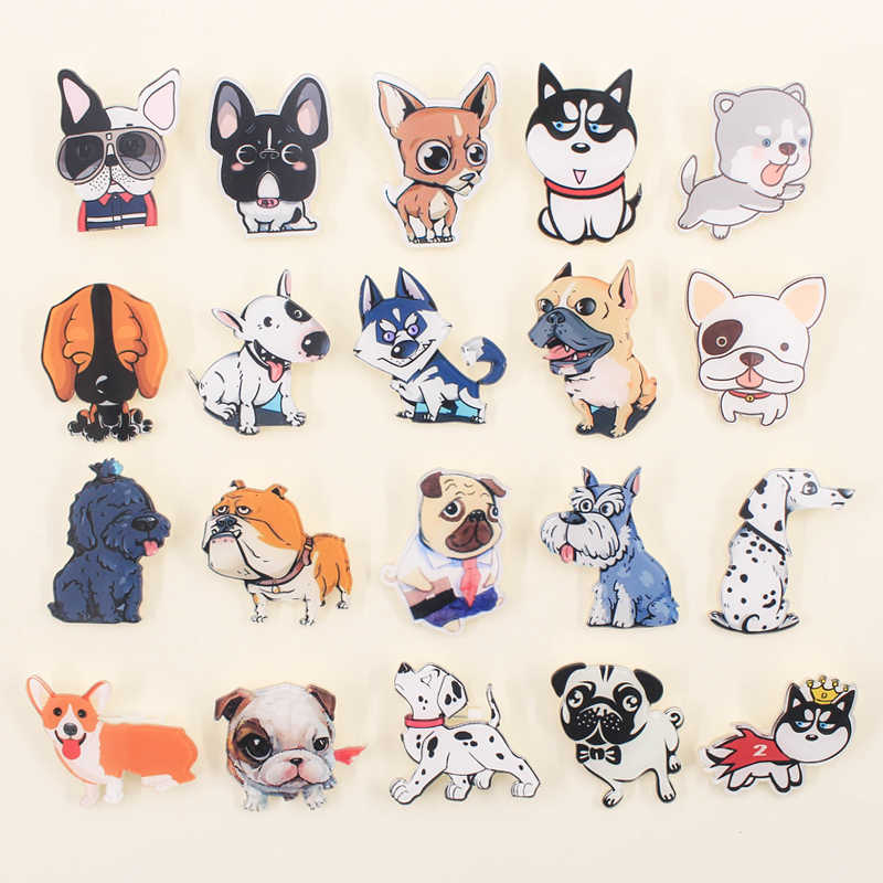 Hot 1PCS cartoon brooch Mix dogs cat Icons On backpack Acrylic Badges Cartoon Pin Badges For Clothes Decoration Badge Z42