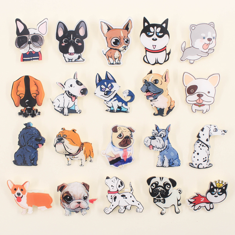 Hot 1pcs Cartoon Brooch Mix Dogs Cat Icons On Backpack Acrylic