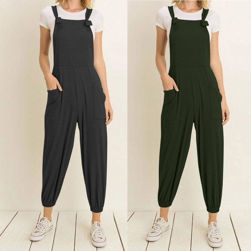 Celmia Women Vintage   Jumpsuits   2019 Summer Sleeveless Backless Pockets Casual Rompers Loose Trouser Playsuits Plus Size Overalls