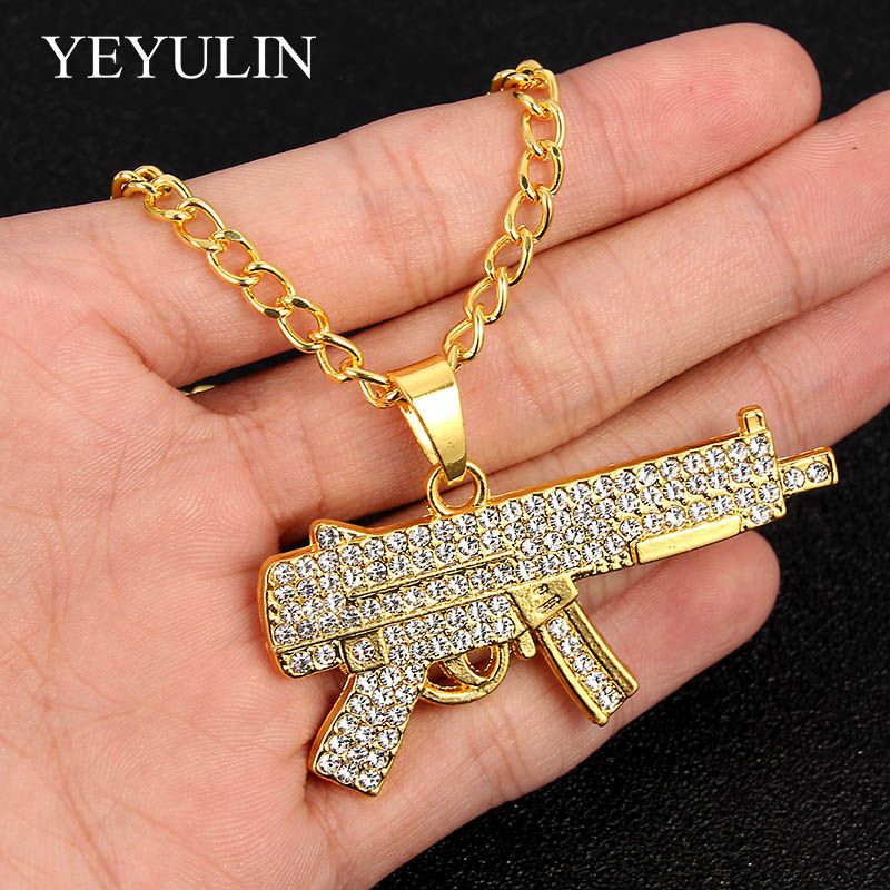 Gold Hip Hop Submachine Gun Pendants Necklace Iced Out Rock For Rock Men Women Long Link Chain Necklace Jewelry Wholesale image