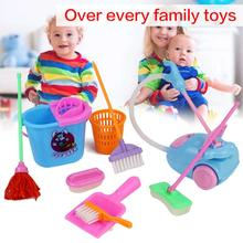 9 PCS Set Play House Toys Realistic Cleaning Toys Kitchen Accessories Broom and Mop Toy Kitchen & Dining Kitchen & Home Toys(China)