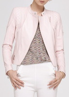 Милая Осенняя розовая короткая обтягивающая куртка из натуральной овечьей кожи для девочек; женские пальто и куртки; Сезон Зима; большие ра