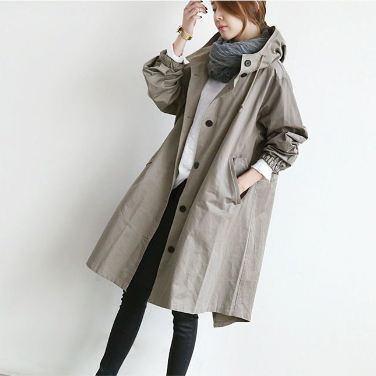 Spring Autumn Thin Hooded Coat Women Medium Long Elegant Windbreaker Casual Female Button Packets Loose   Trench