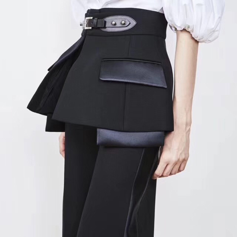 TWOTWINSTYLE 2019 Spring Trouser For Women s Wide Leg Pants With Belts High Waist Loose Hit