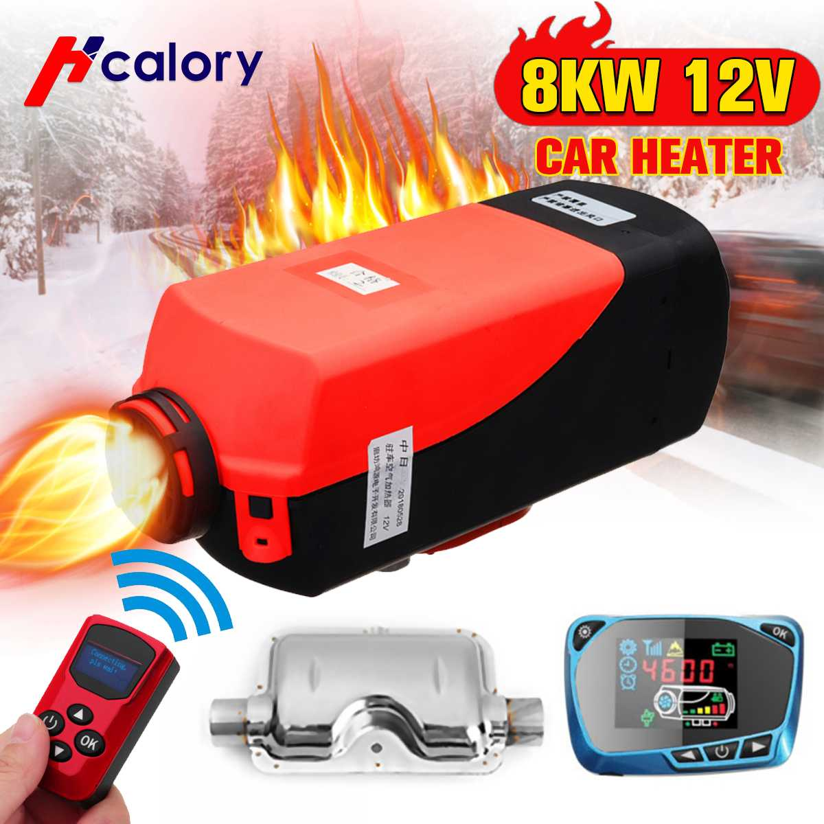 8000W Air diesels Heater 8KW 12V Car Heater For Trucks Motor-Homes Boats Bus +LCD Monitor Switch +Remote Control + Silencer8000W Air diesels Heater 8KW 12V Car Heater For Trucks Motor-Homes Boats Bus +LCD Monitor Switch +Remote Control + Silencer