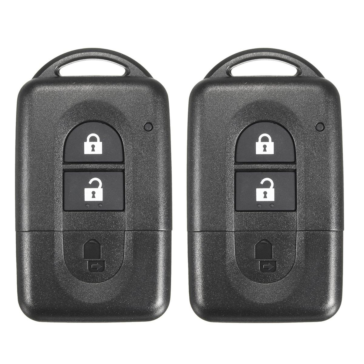 For NISSAN MICRA X-TRAIL QASHQAI JUKE DUKE NAVARA Pair 2 Button Car Remote Smart Key FOB Case Shell