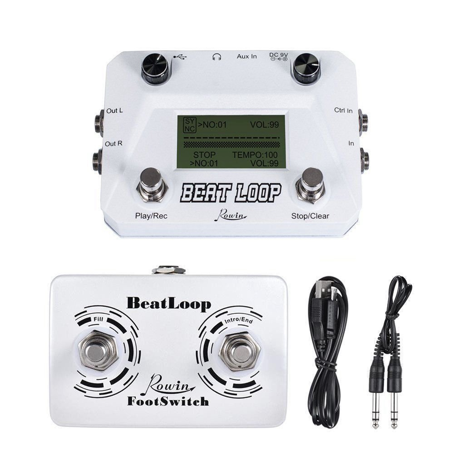 BMDT Rowin Lbl 01 Guitar Beat Loop Drum Machine With Foot Switch 3 Different Modes Usb
