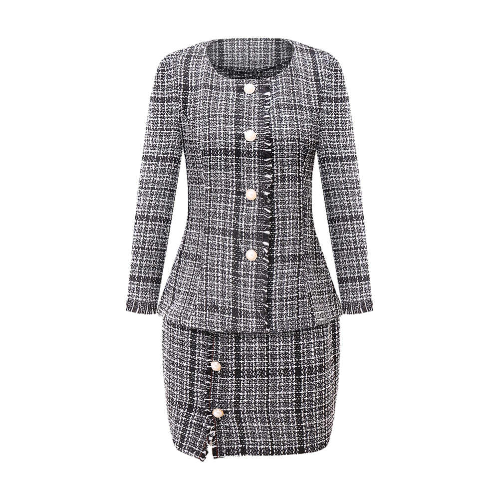 Two Piece Set Women 2019 Fashion OL Slim Tweed Jacket Evening Blazer Skirt Set Plaid Pearl Buttons 2 Piece Outfits Women Clothes