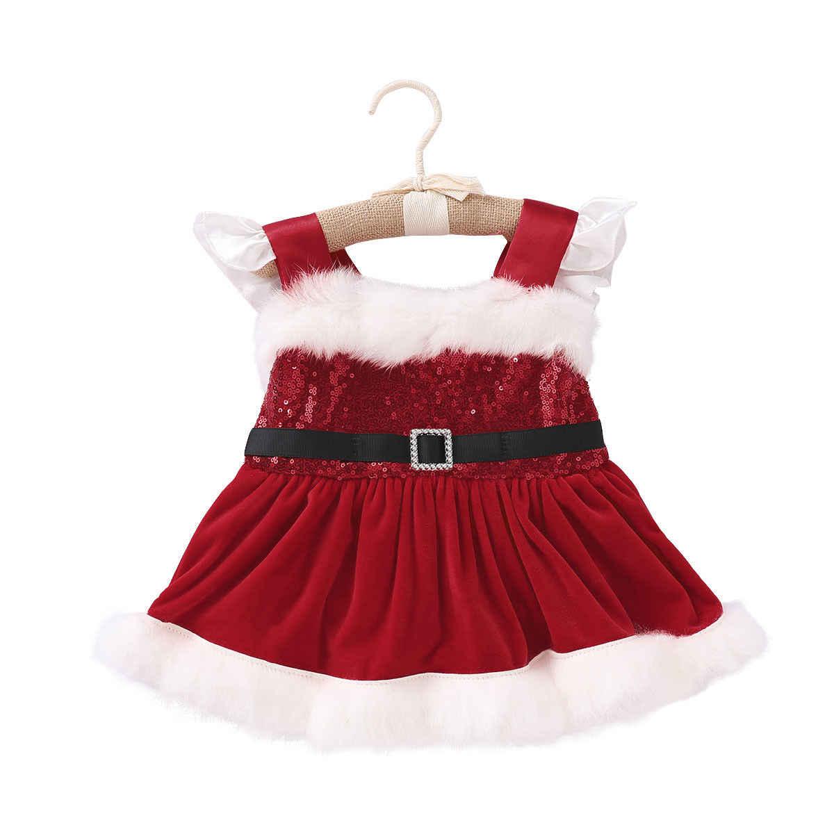 Рождественский ремень с блестками для новорожденных девочек, пушистая пачка, Красный милый комбинезон без рукавов, Рождественская одежда для маленьких девочек