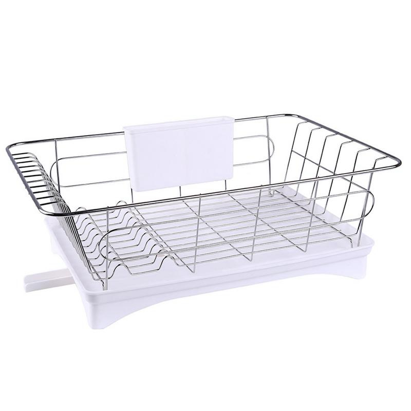 Stainless Steel Dish Drainer Drying Rack With 3-Piece Set Removable Rust Proof Utensil Holde For Kitchen Counter Storage
