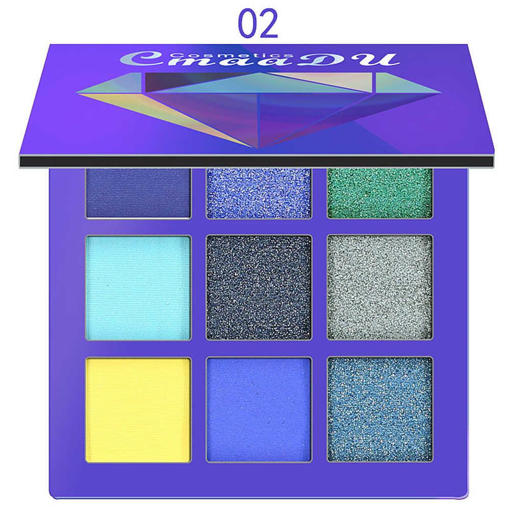 Cmaadu 9 色グリッターアイシャドウパレット化粧パレットマットアイシャドウパレット化粧ブラシきらめき着色化粧品 TSLM2