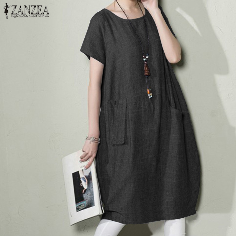 Women's Sundress 2019 ZANZEA Summer Vintage O Neck Short Sleeve Midi Dress Female Vestidos Baggy Robe Femme Dresses Plus Size