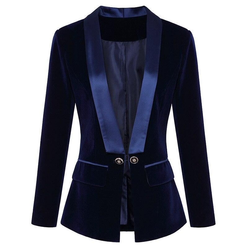 PEONFLY Date Piste 2019 Designer Blazer de Femmes À Manches Longues en Velours Blazer Veste Usage Externe balck bule