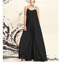 цена на Summer Women Sexy V-Neck Spaghetti Straps Dress Front Pleated Long Maxi Dress Sleeveless Plus Size Loose Beach Dress