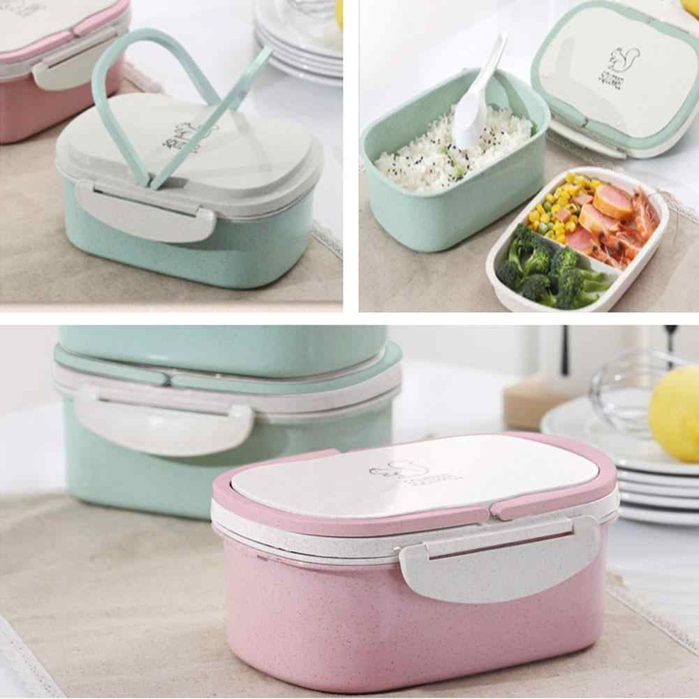 Lunch box Wheat straw Cartoon bento box Portable Eco-friendly food storage container for kids students school Microwavable