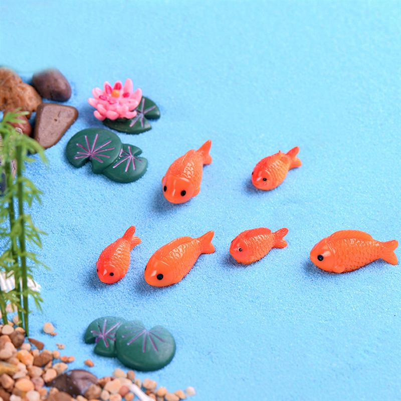 2Pcs Fish Shape Resin Micro Landscape Mediterranean Style View Fish Tank Fleshy Miniatures Decors Crafts Ornaments