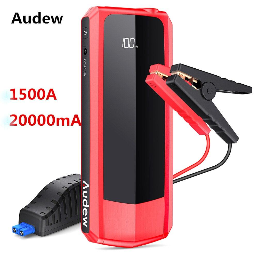 AUDEW 20000 mAh 1500A USB LCD Affichage de la Puissance De Voiture Jump Starter chargeur rapide Portable batterie externe Kit D'urgence Démarreur Voiture De Saut