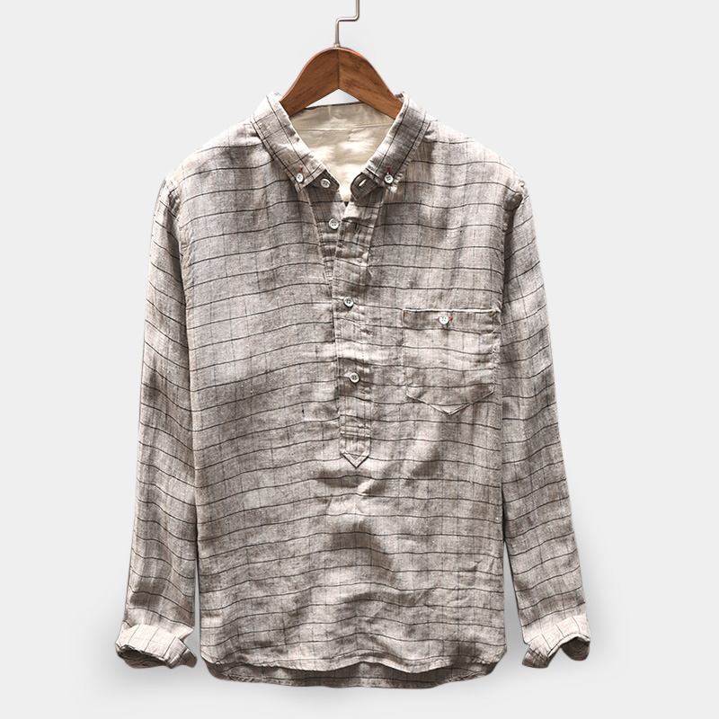 High Streetwear Pullovers Plaid Shirts Autumn Mens Tee Shirts Cotton Long Sleeve Fashion Casual Chemise Camisas Masculina Tops
