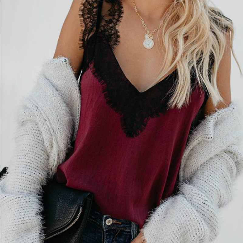 2019 Sexy Women Summer Sleeveless V-Neck Vest   Tank     Tops   Lace Straps   Tops   T-Shirt Ladies Casual Women Clothes