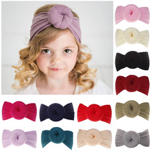Cute Toddler Infant girl headbands knitted newborn bow ball headbands crian a elastic hairbands hair wide scarf hair accessories(China)