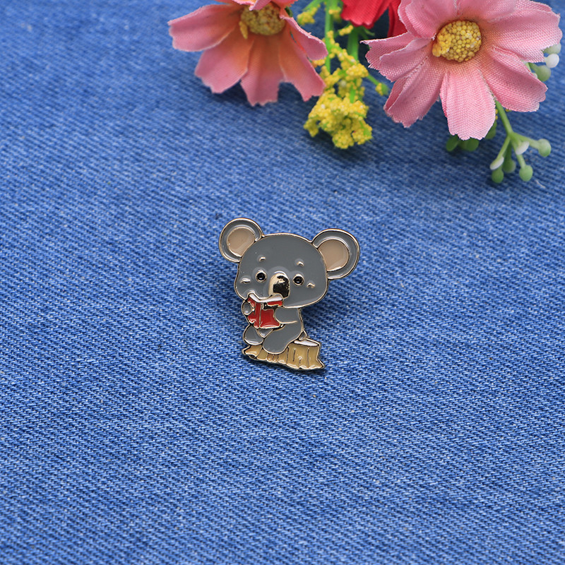 Home & Garden Devoted Cartoon Animals Brooches Koala Reading Enamel Pin For Girls Lapel Pin Hat/bag Pins Denim Jacket Shirt Women Brooch Badge Sc4365 Apparel Sewing & Fabric