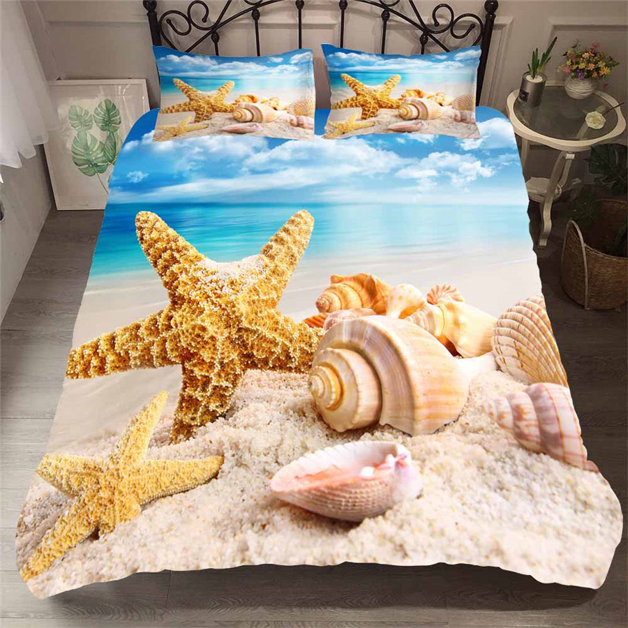Bedding Set 3D Printed Duvet Cover Bed Set Beach Starfish Home Textiles For Adults Bedclothes With Pillowcase HL29