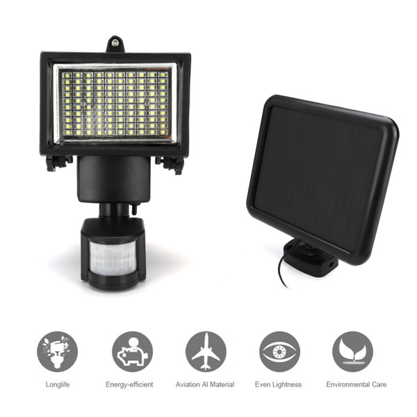 CLAITE 100 LED Solar Light with Motion Sensor and Solar Panel Outdoor LED Floodlight Security Lamp for Garden/Garage/Pathway
