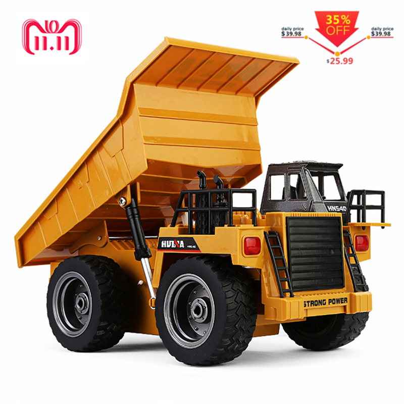 HUINA 1540 1:18 2.4G 6CH RC Alloy Dump Truck Reinforced Alloy Rotate RC Excavator Engineering Car Remote Control Cars Boys Gifts цена