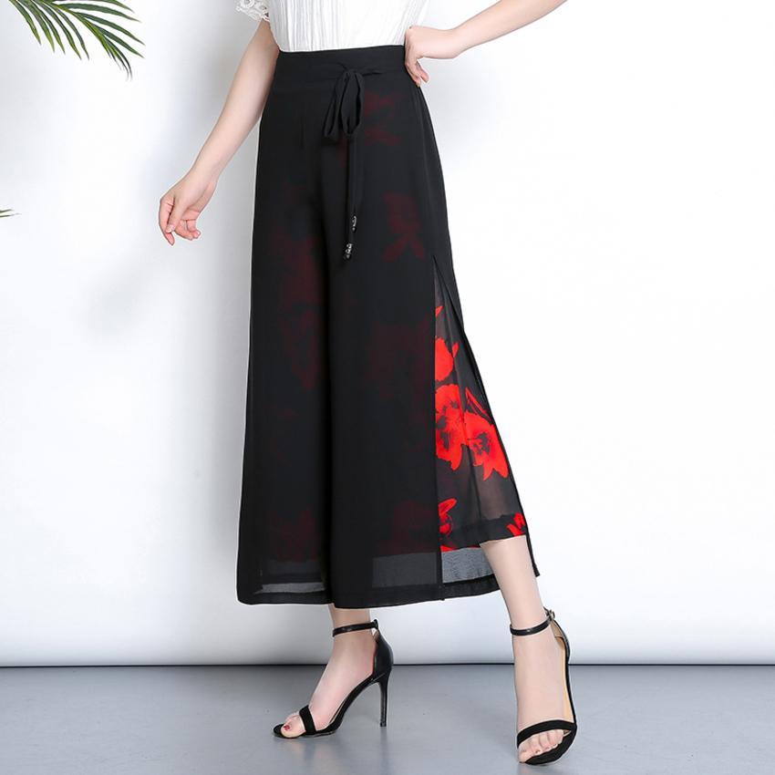 Women Fashion High Waist Summer Pants Elegant Print Floral Wide Leg Pants Vintage Loose Side Split Chiffon Pants Plus Size in Pants amp Capris from Women 39 s Clothing