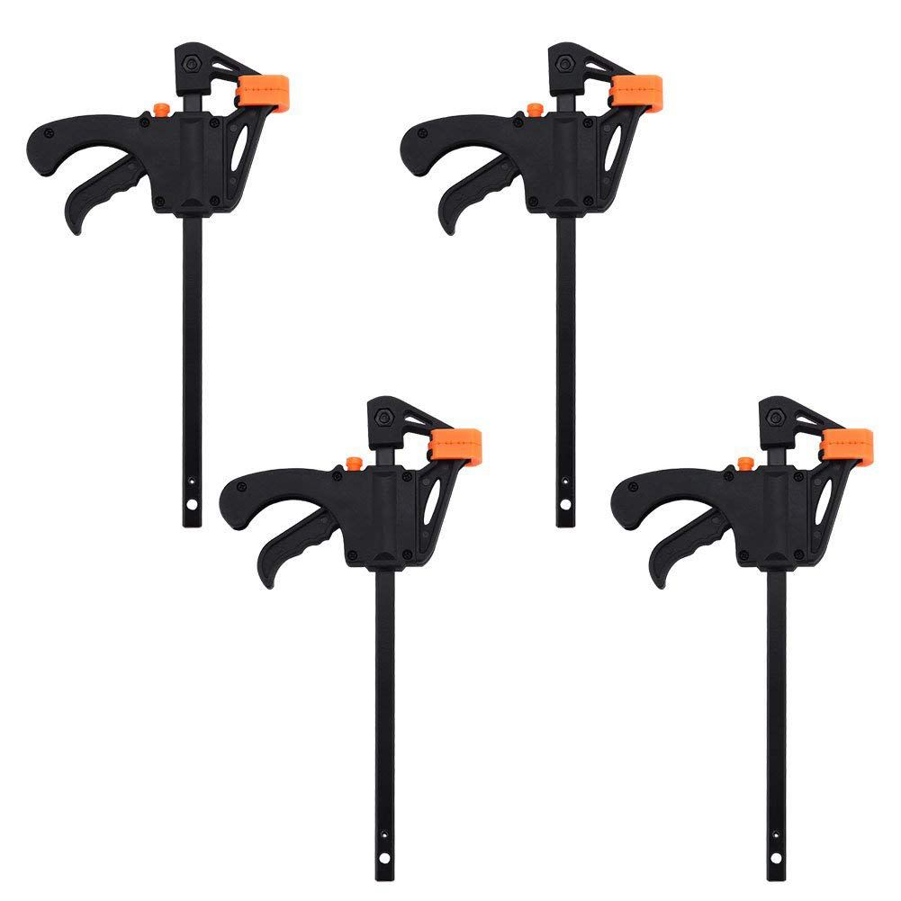 HLZS-Plastic F Clamps Set 4-Piece, 100mm 4 Inch Bar F Clamps Clip Grip Quick Ratchet Release Woodworking DIY Hand Tool Kit