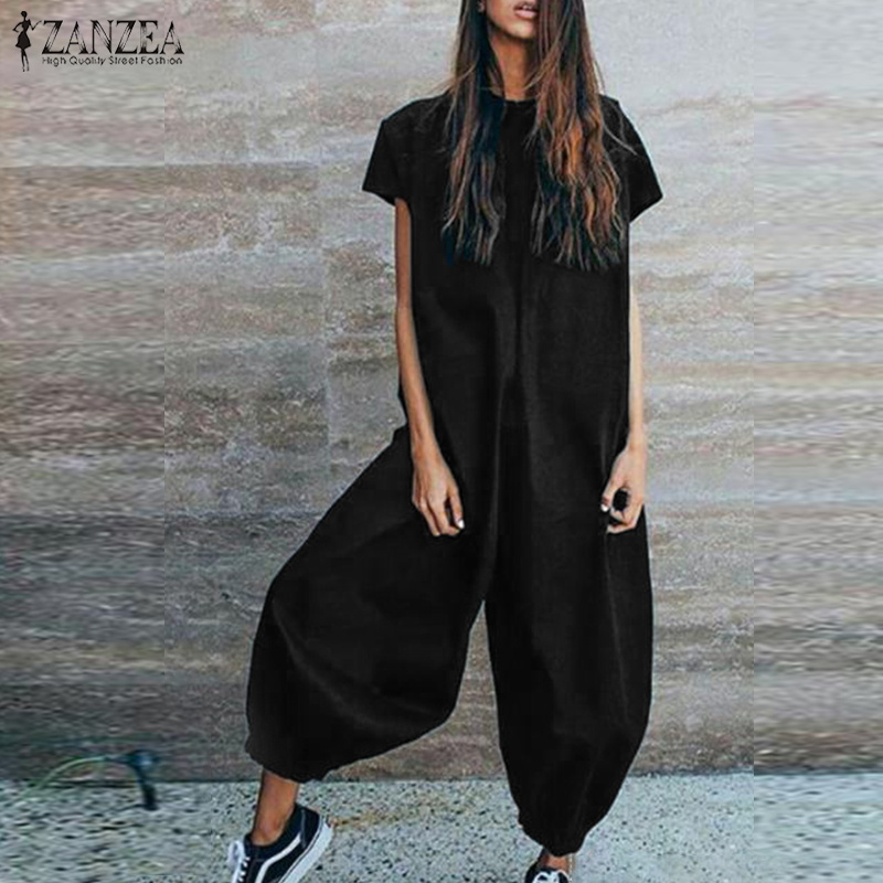ZANZEA Casual Solid Baggy Lantern Rompers Women Vintage Loose Long Playsuits 2019 Summer Short Sleeve   Jumpsuits   Pants Feminino